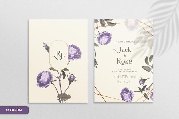 Szablon zaproszenia ślubne w stylu vintage z fioletowym kwiatem