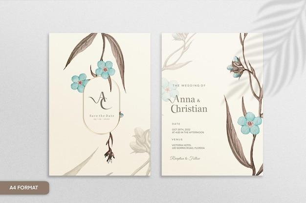 Szablon zaproszenia ślubne w stylu vintage z niebieskim kwiatem
