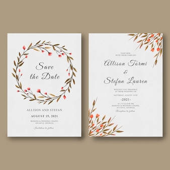 Szablon zaproszenia ślubne z akwarela dzikich roślin