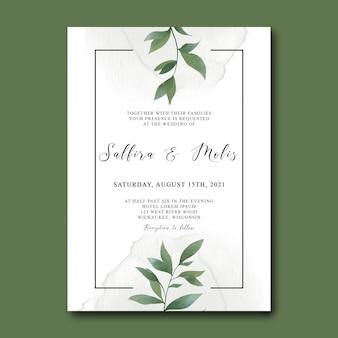 Szablon zaproszenia ślubne z akwarela zielonych liści
