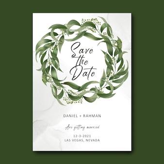 Szablon zaproszenia ślubne z bukietem liści akwarela
