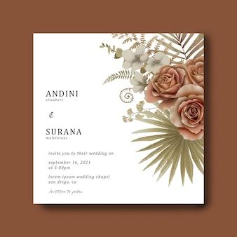 Szablon zaproszenia ślubne z bukietem tropikalnych liści i kwiatów w akwarela
