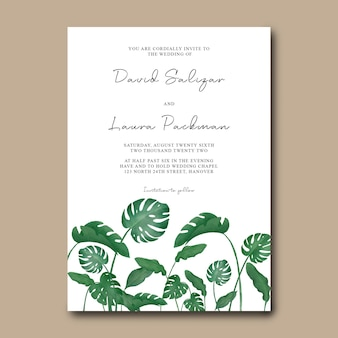 Szablon zaproszenia ślubne z dekoracją akwarela tropikalnych liści