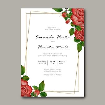 Szablon zaproszenia ślubne z dekoracją ramy kwiat róży