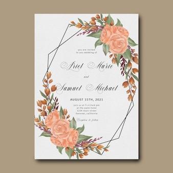 Szablon zaproszenia ślubne z eleganckim bukietem kwiatów akwarela