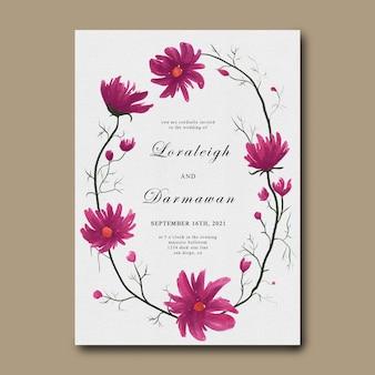 Szablon zaproszenia ślubne z ramą kwiat akwarela