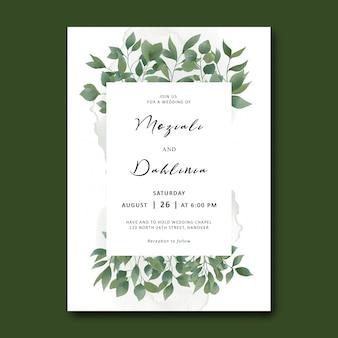 Szablon zaproszenia ślubne z ramą liści akwarela liść