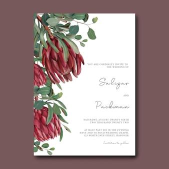 Szablon zaproszenia ślubne z ręcznie rysowane kwiaty