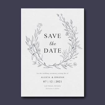 Szablon zaproszenia ślubne z szkic liści
