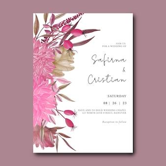 Szablon zaproszenia ślubnego z akwarelowymi kwiatami