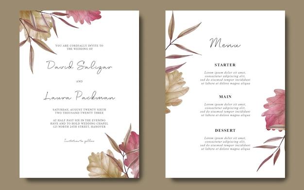 Szablon zaproszenia ślubnego z suszonymi liśćmi akwareli