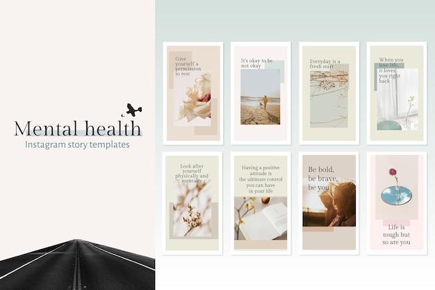 Szablon zdrowia psychicznego psd zestaw cytat na post w mediach społecznościowych