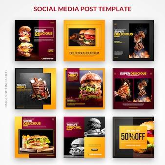 Szablon zestawu zestawu fast food instagram