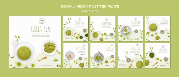 Szablon zielonej herbaty mediów społecznościowych posty