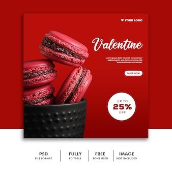 Szablon żywności instagram post valentine
