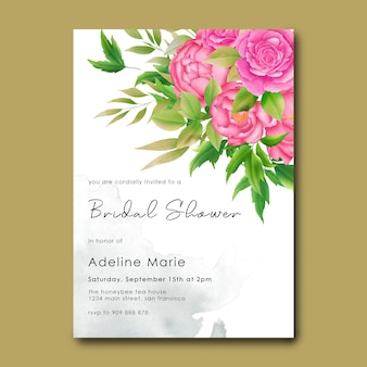 Szablony dla nowożeńców z dekoracjami z bukietem kwiatów akwarela