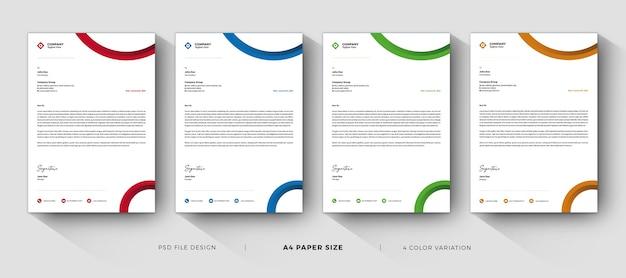 Szablony firmowe profesjonalny i nowoczesny design z różnymi kolorami