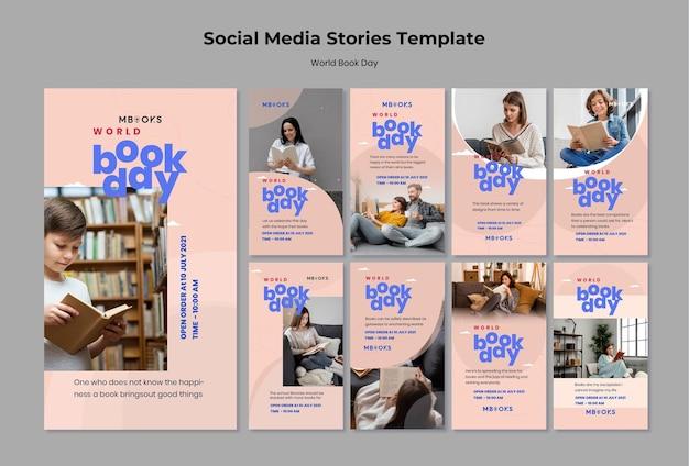 Szablony historii na instagramie światowego dnia książki