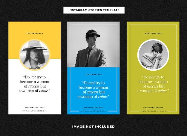 Szablony historii na instagramie z referencjami klientów