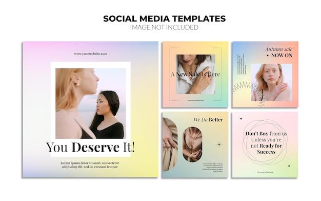 Szablony postów w mediach społecznościowych z gradientem na instagramie