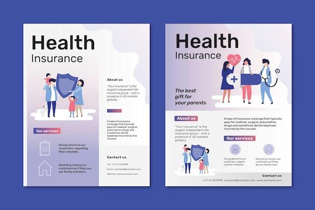 Szablony ulotek psd dla ubezpieczenia zdrowotnego