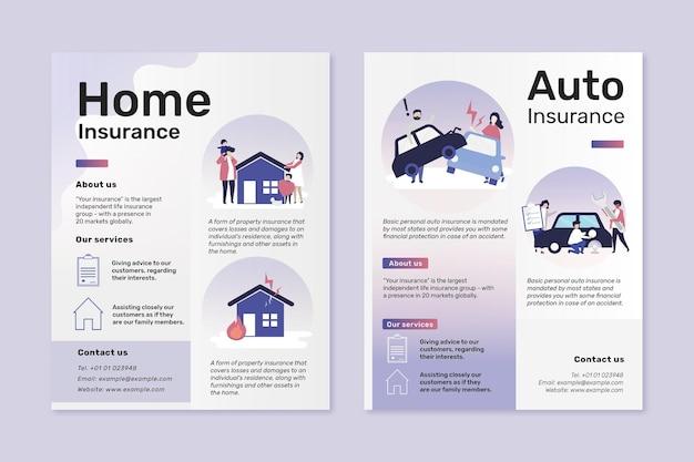 Szablony ulotek psd do ubezpieczenia domu i samochodu