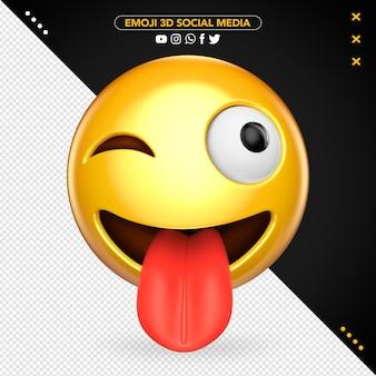 Szalony emoji 3d z wysuniętym językiem