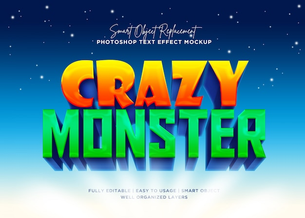 Szalony potwór efekt tekstowy w stylu 3d