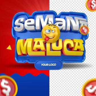 Szalony tydzień renderowania 3d dla kampanii w sklepach wielobranżowych w brazylii