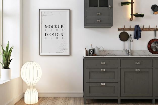 Szara minimalistyczna kuchnia z makietą w ramie