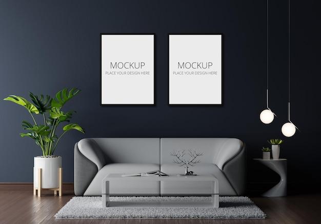 Szara sofa w salonie z makietą ramy