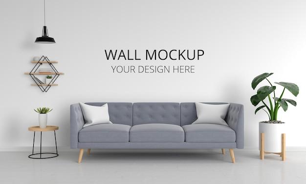 Szara sofa w salonie z makietą ścienną