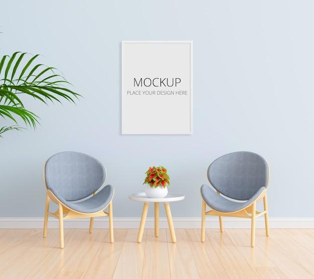 Szare krzesło w niebieskim salonie z makietą ramy