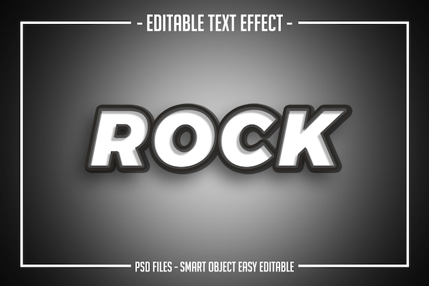 Szary biały rockowy styl tekstu edytowalny efekt czcionki