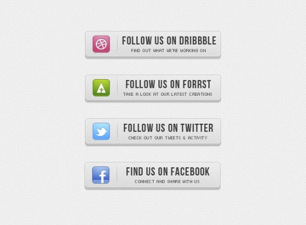Szary przycisk przyciski facebook twitter ui retro