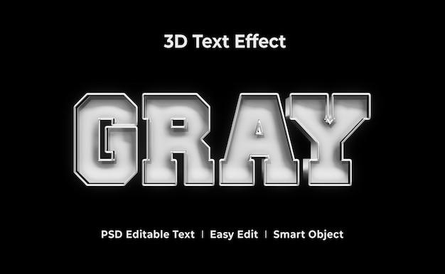 Szary szablon efektu stylu tekstu 3d