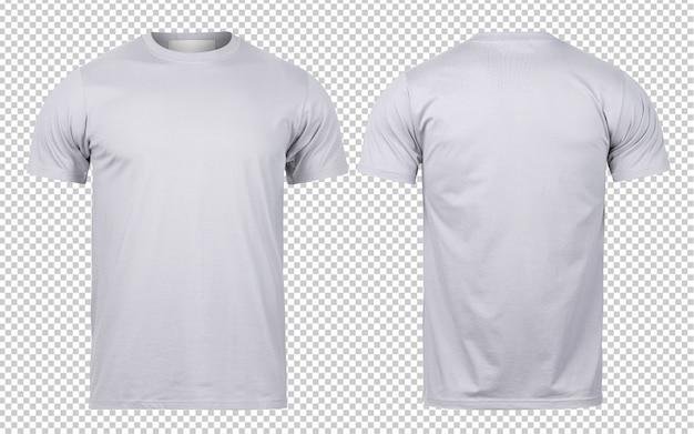 Szary t-shirt z przodu iz tyłu makiety szablon do projektowania.