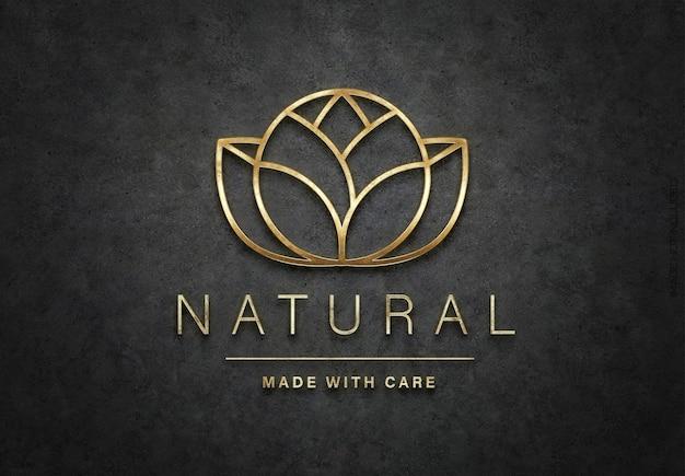 Szczegółowe teksturowane logo 3d z błyszczącym złotym logo mockup