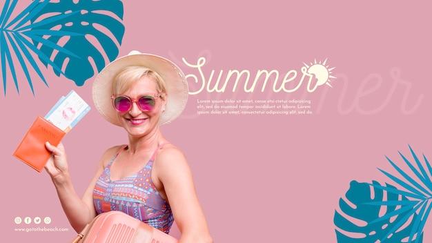 Szczęśliwa kobieta lato szablon