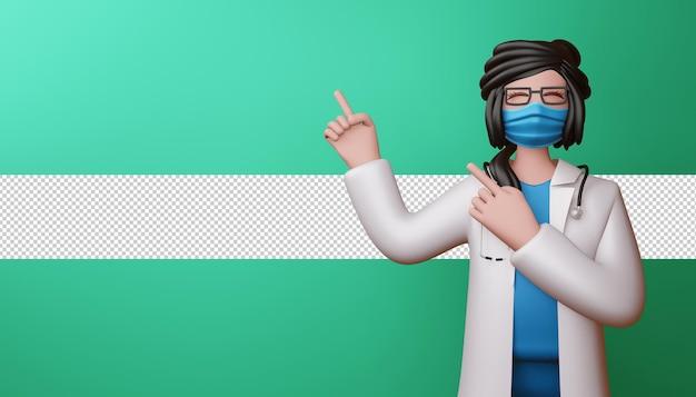 Szczęśliwa kobieta lekarz wskazując palcami renderowania 3d