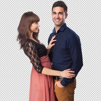 Szczęśliwa młoda para na białym tle