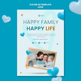Szczęśliwa rodzina szablon ulotki