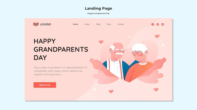 Szczęśliwa strona docelowa dnia dziadków