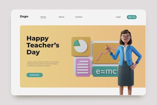 Szczęśliwa strona docelowa dnia nauczyciela z postacią renderowania 3d