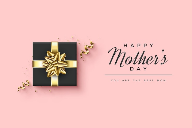 Szczęśliwego dnia matki z elegancką czarną ilustracją pudełko