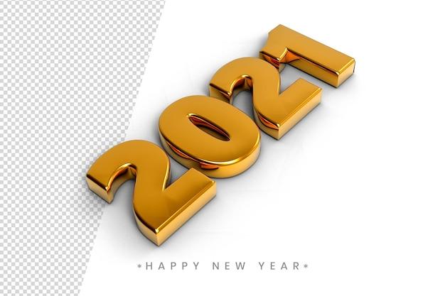 Szczęśliwego nowego roku 2021 3d złoty efekt tekstowy
