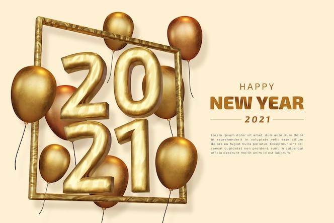 szczęśliwego nowego roku 2021 dwadzieścia dwadzieścia jeden pogrubiony numer renderowania 3d na białym tle