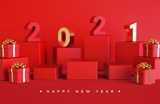 Szczęśliwego nowego roku 2021 z renderowaniem obiektów 3d