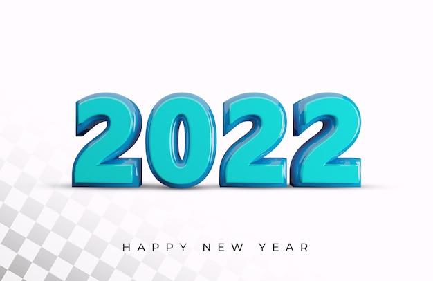 Szczęśliwego nowego roku 2022 efekt tekstu 3d
