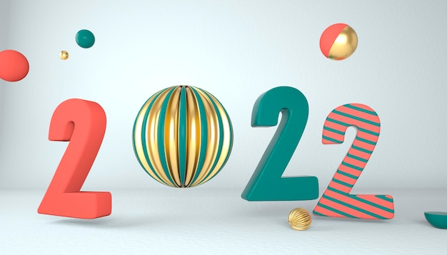 Szczęśliwego nowego roku 2022. liczby 3d z geometrycznymi kształtami i bombką. renderowania 3d.